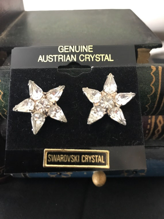 Authentic 1980 Swarovski Crystal Star Pierced Ear… - image 1