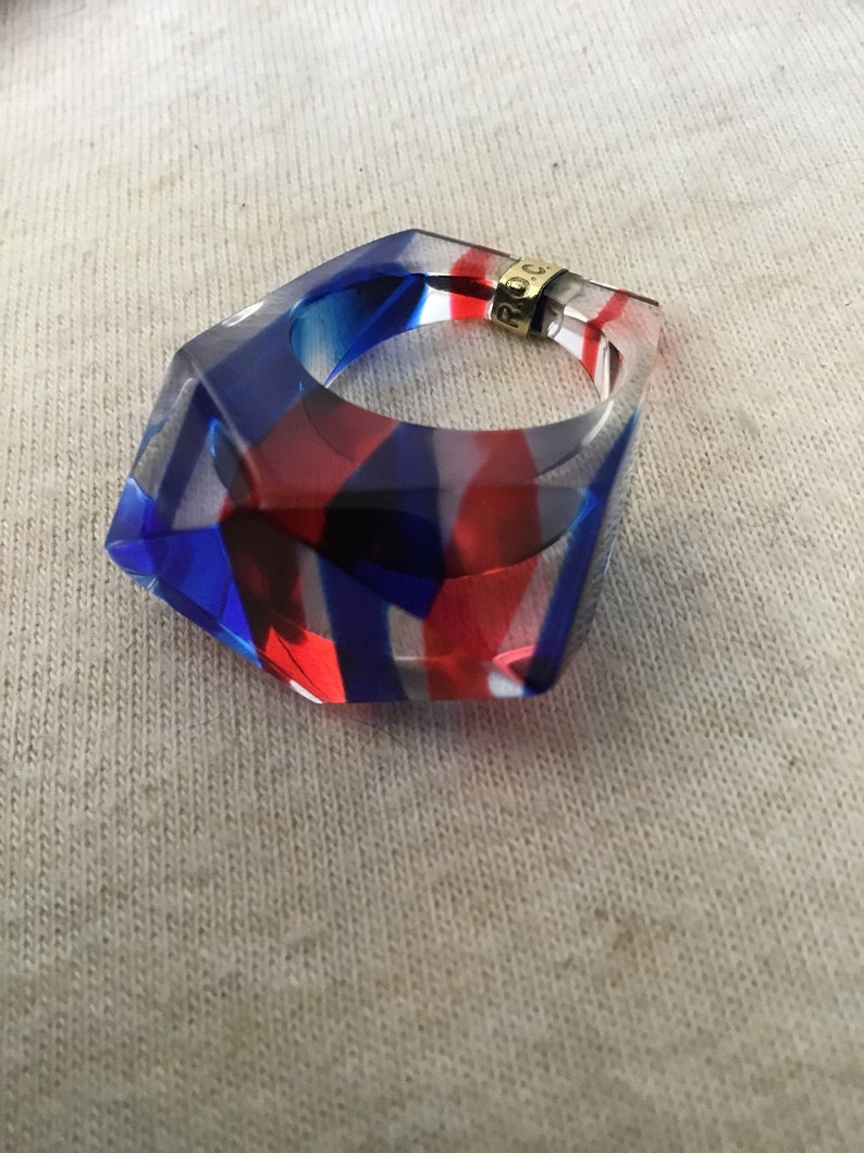 1960's Lucite Red, Blue & Clear Ring, Size 8, Vintage Lucite , Vintage  Ring, Vintage Jewelry, Retro Ring NOS