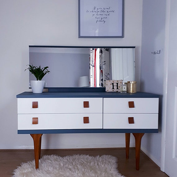 wholesale dealer c3318 67bcd SOLD SOLD SOLD Mid-Century 1960 Austinsuite Dressing Table Dresser Chest of  Drawers with Mirror Painted Blue