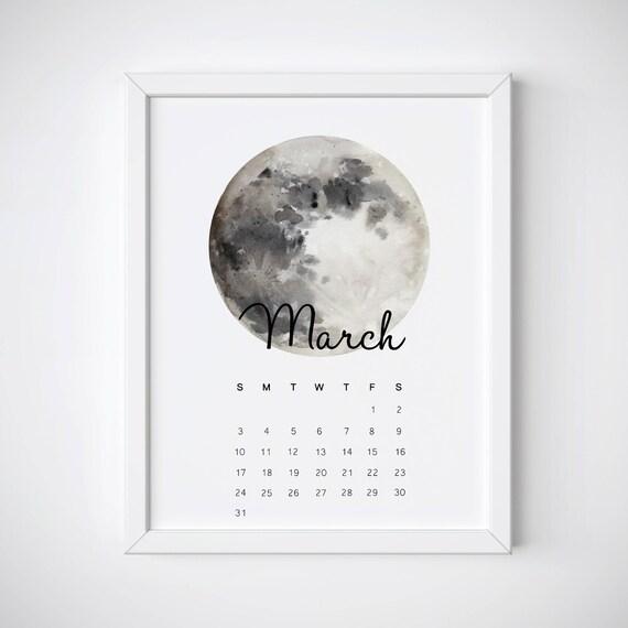 March Calendar, Moon Calendar, March 2019 Calendar, March Print, March  Calendar Printable, Desk Monthly Calendar, Wall Calendar