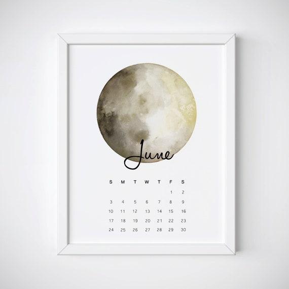 June Calendar 2018 Moon Calendar June Calendar Print June Etsy