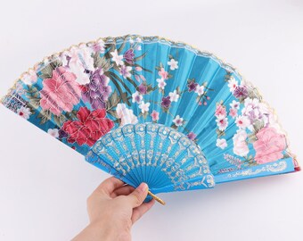 Dominica Flag Fabric Folding Hand Fan with Bamboo Handle