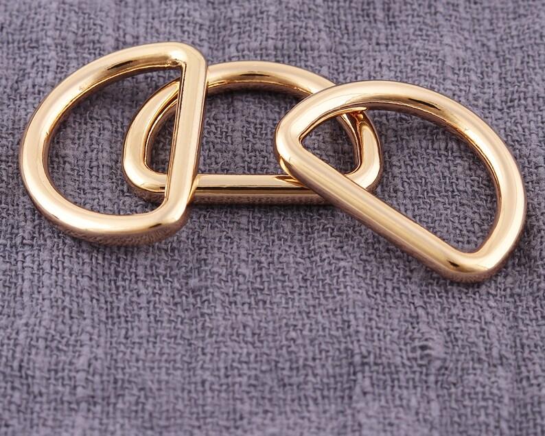 20PCS Gold 20mm Metal adjustment buckle half ring D buc