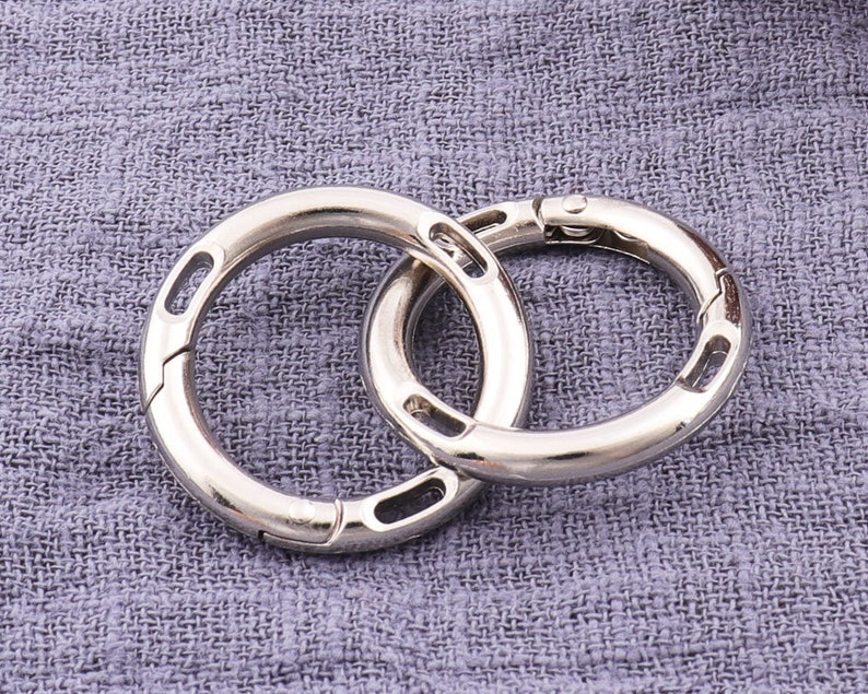 34 20mm 12pcs  Silver Opening Ring Gate Ring,trigger hook,Oval Spring Ring,Oval O Rings,Purse Snap Hooks