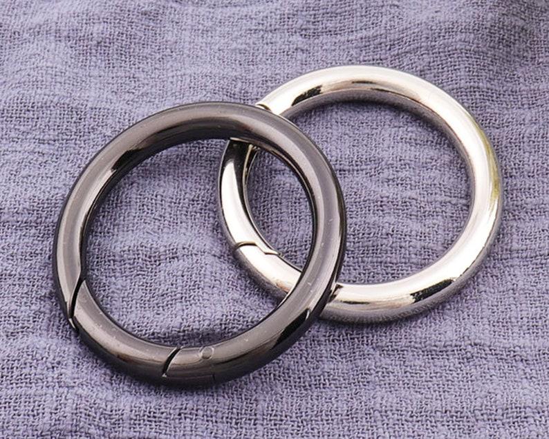 4pcs Silver Trigger Round Ring Spring gate ring Push Sn