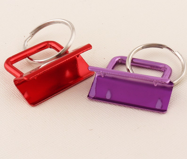 Key Fob Hardware with Key Rings Red/Purple Key fob hard