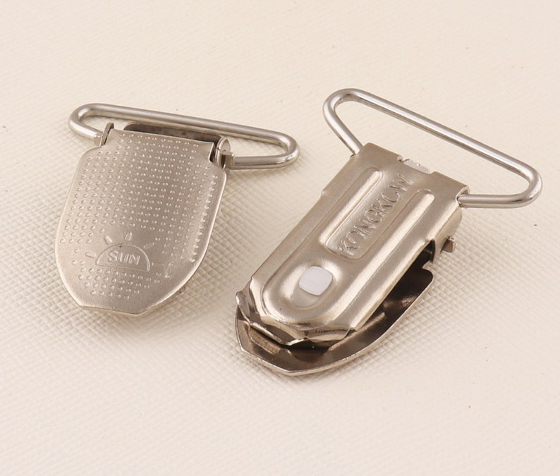 Silver Metal Pacifier Clips Suspender Clips Metal Oval