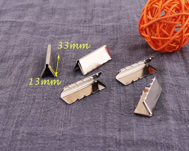 50pcs Silver Flat Ribbon Clamp with Loop,Plated Ribbon Crimps,Crimp Ends,Cord End 33mm*13mm Ribbon Clip,Fastaners Clasp