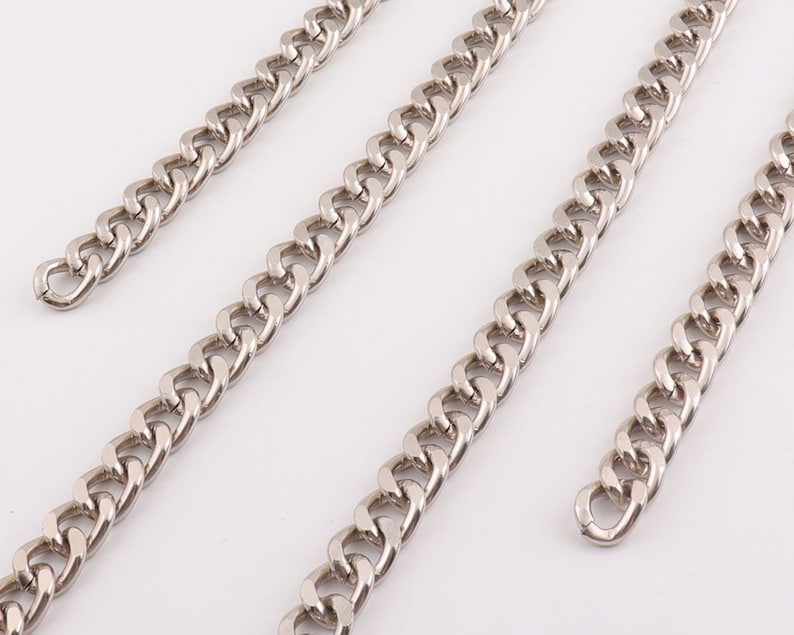 1feet Silver chain chain link Cuban Link Necklace Heavy