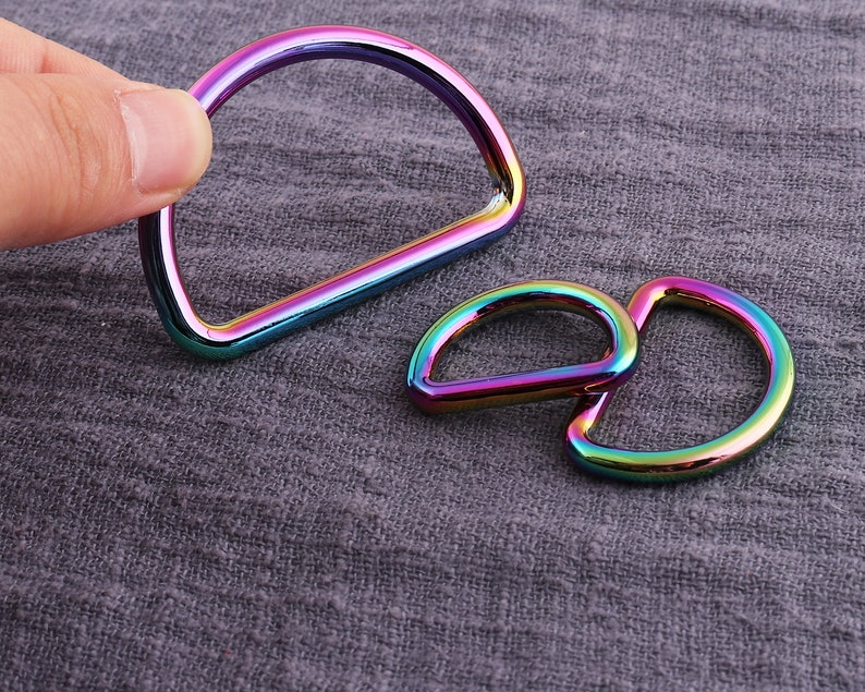 6pcs SIZE A Purse ring strap D ring Rainbow Three sizes