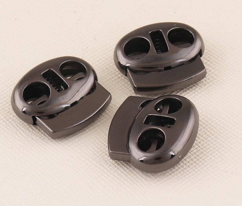 Gunmetal Spring Cord Lock Oval Bean Double Holes Cord L