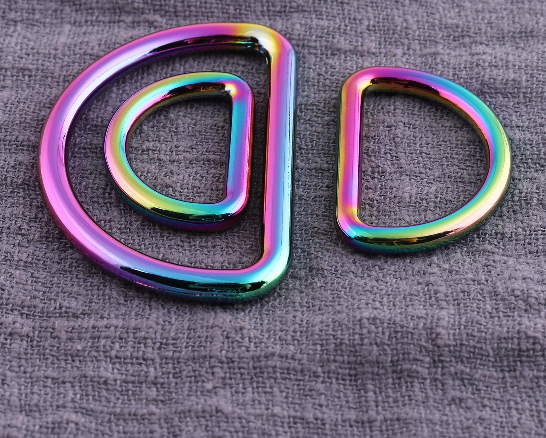 6pcs SIZE B Purse ring strap D ring Rainbow Three sizes