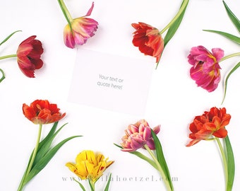 Download Free Styled Mockup • Social Media Mood Lifestyle Image • Artistic Spring Collection • A6 Card & Tulips • Buy 2 get 1 for free! PSD Template