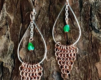 Tear Drop Silver Hoop with Copper Chain Mail!