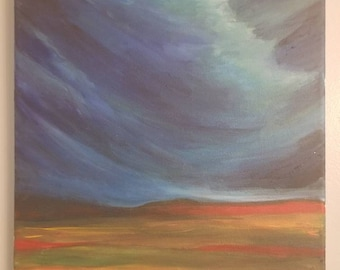 Red Clouds, 10x10, Acrylic Painting, Cloud Painting, Landscape Painting, Atmosphere,