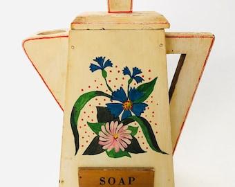 Vintage Americana Folk Art Handmade Wood Soap Powder Pitcher
