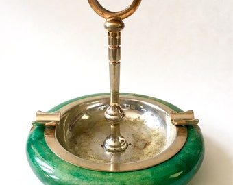 Swanky Vintage Wood and Metal Ashtray | Mid Century Green Table Top Ashtray