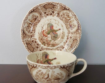 Johnson Brothers Wild Turkeys Brown Flat Cup and Saucer Set