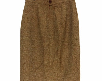 GIVENCHY PARIS BOUTIQUES Knee Length Straight Skirt Brown Made In France Pencil