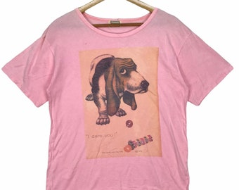 Vintage FIORUCCI ITALY Dog Big Logo Spell Out Pink Tee M Size Streetwear