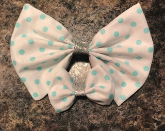 White Bow With Teal Polka Dots