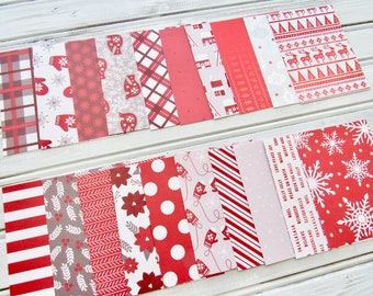 Red and White Holiday Journal Cards, Christmas Note Cards, Project Life, Planner Cards, Pocket Cards, Scrapbook Pocket
