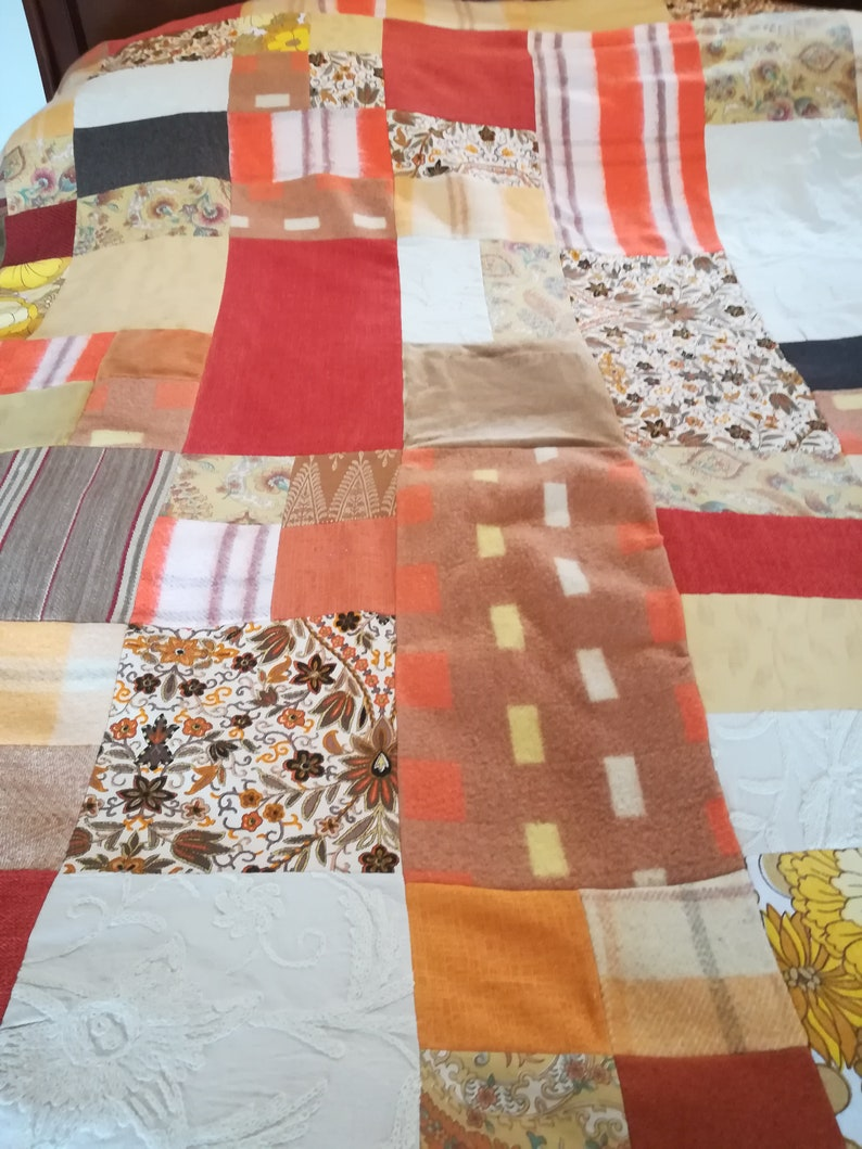 Patchwork Bed Cover French Bedspread Up Skilled Fabric Patchwork Bedspread Vintage Bedspread Large and heavy Bedspread