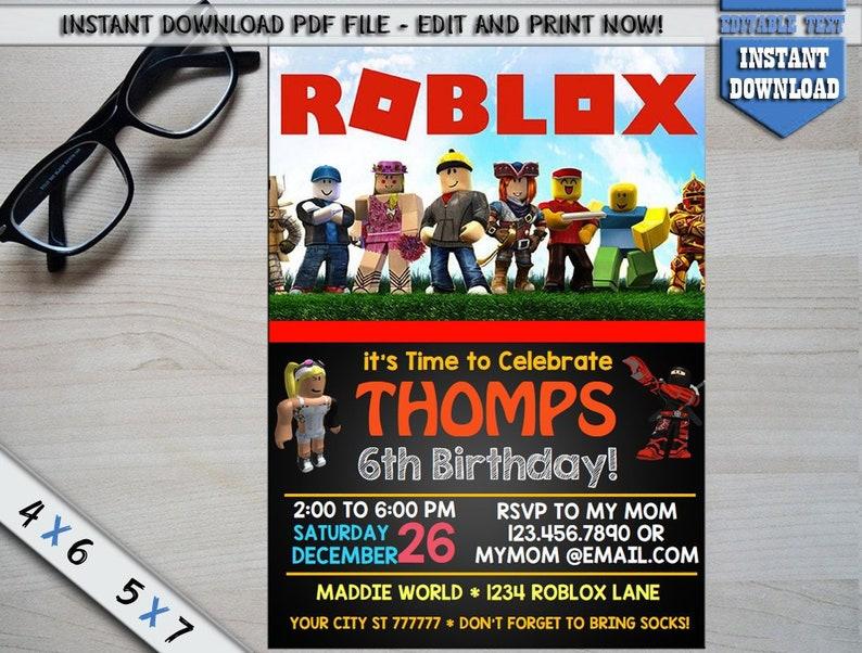 Roblox Invitation Digital Birthday