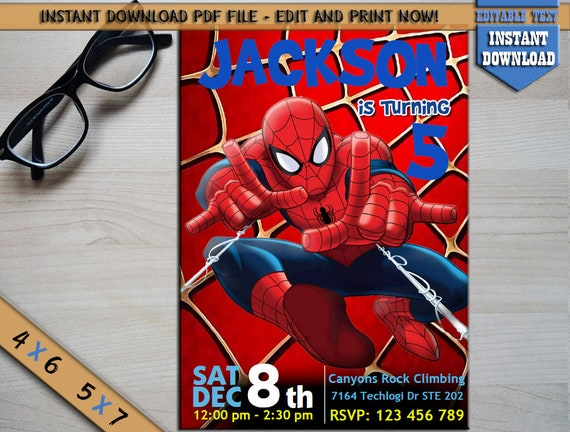 Instant Download Spiderman Invitation Digital Spiderman Party Etsy