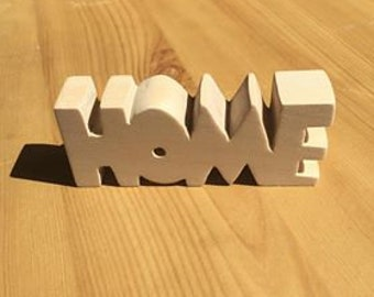"""Wooden Carved """"Home"""" Ornament"""