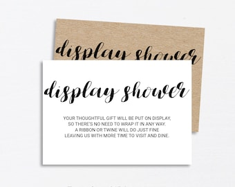 kraft paper display shower card display bridal shower insert baby shower invitation insert card no gift wrap card instant download pdf
