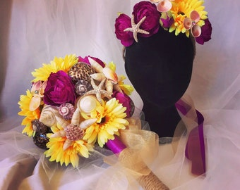Beach Wedding Bouquet with matching Headpiece