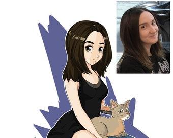 Anime portrait - manga portrait, custom portrait, family portrait, family drawing, cartoon portrait, caricature portrait, gift
