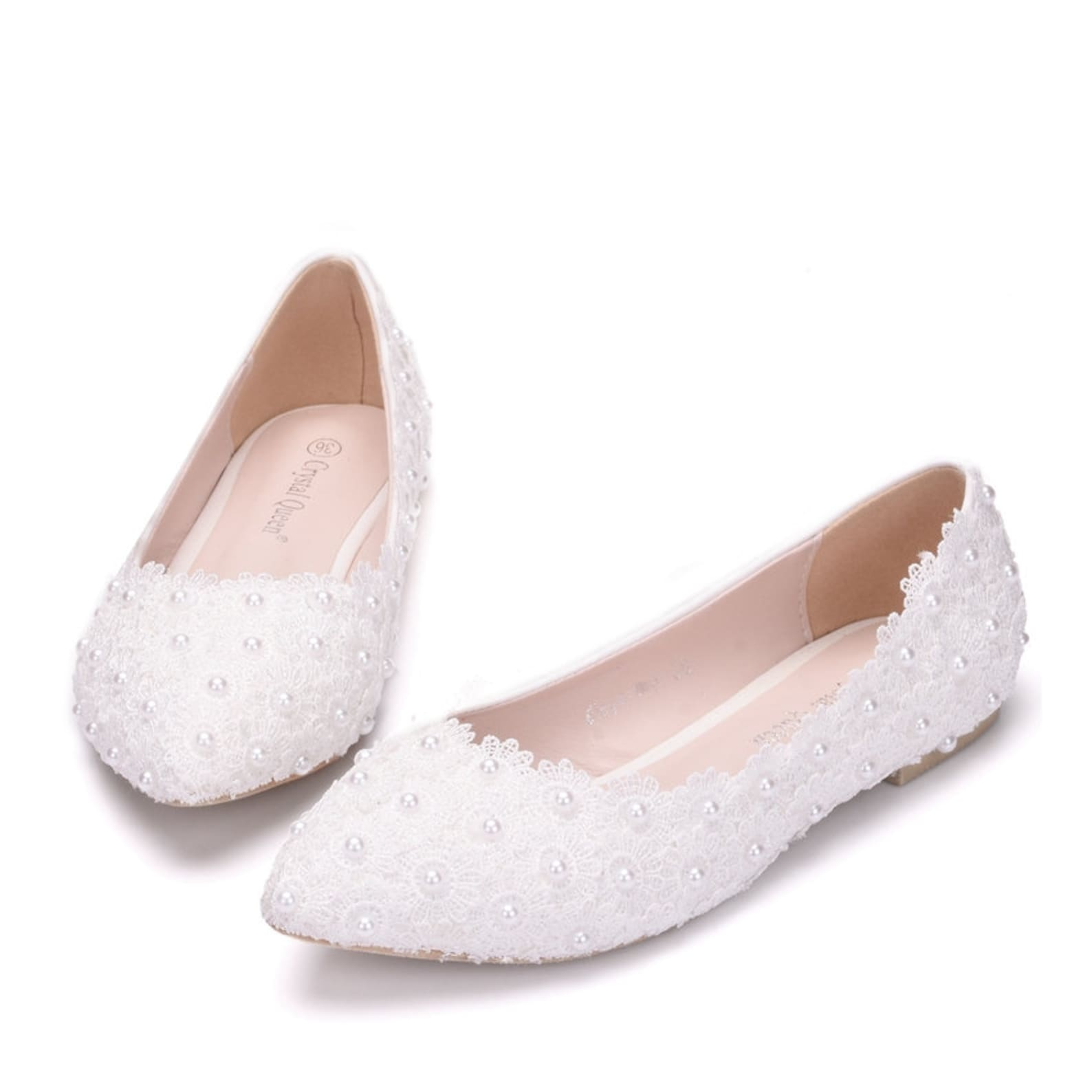 crystal queen white lace wedding shoes flat heels pointed toe plus size ballet flats women bridal shoes