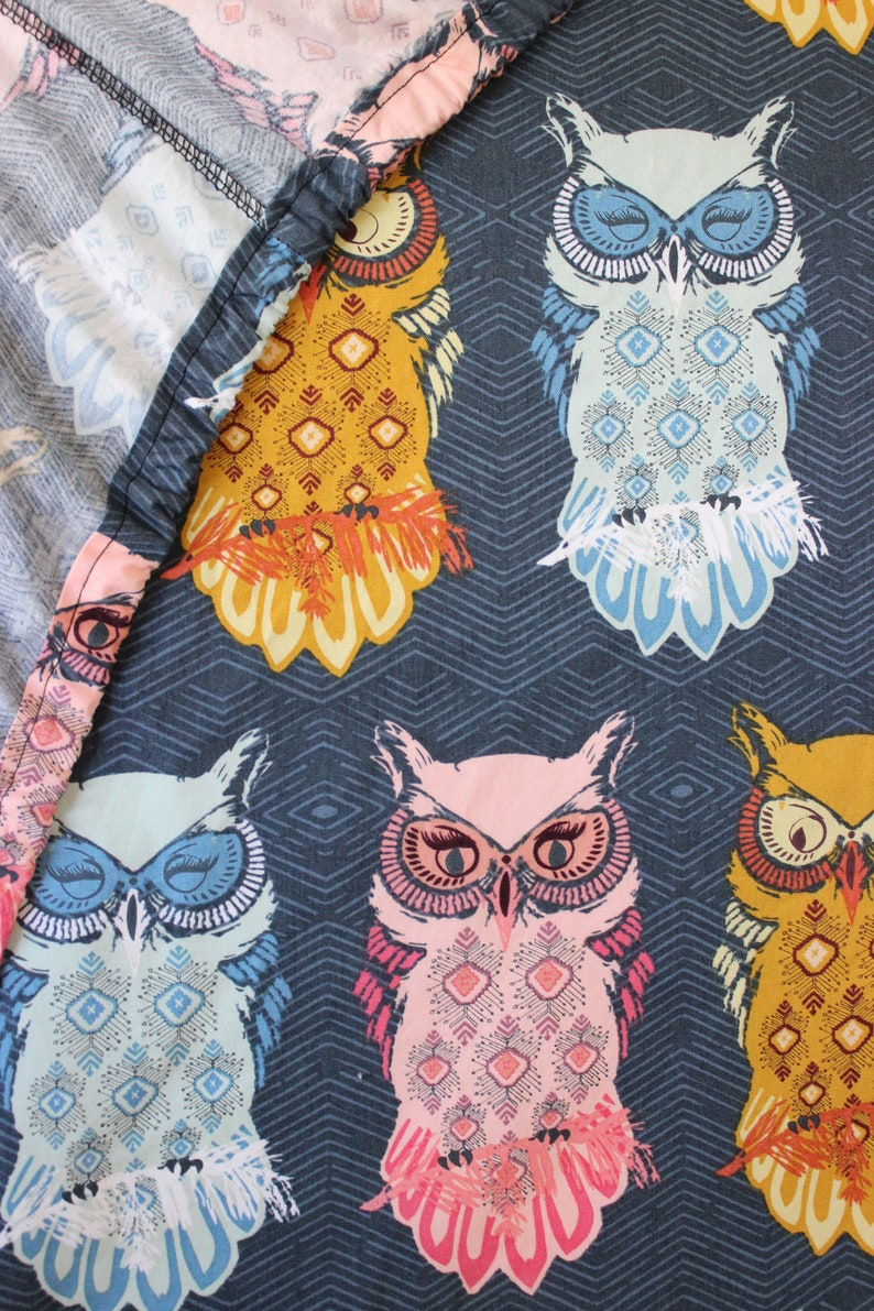 navy pink gold nocturnal woodland nursery crib sheet or changing pad cover modern gender neutral owl baby or toddler bedding