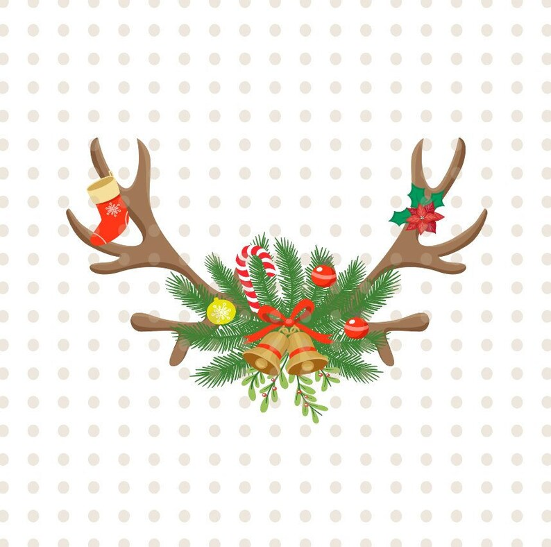 85865bb18a757 SVG Merry Christmas New year clipart deer antlers silhouette