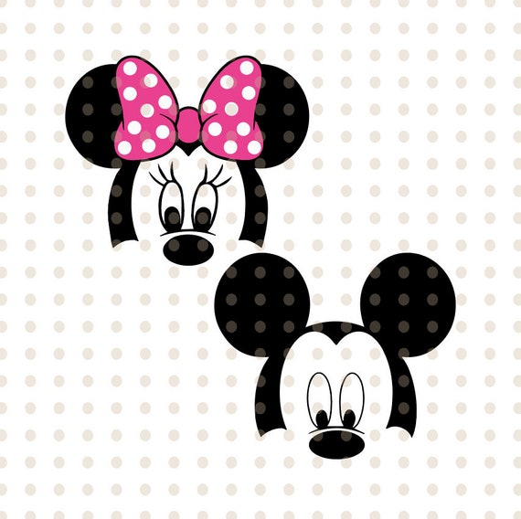 Mickey Minnie Mouse Layered Head Face Svg Png Vector Cut File Cricut Silhouette Cameo Vinyl Decal Disney Printable Tshirt Transfer
