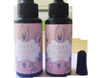 TDYL UV Resin For DIY Glue 50g Jewelry Hard Type  Cure Resin Sunlight Activated Crafts Transparent clear (50g)