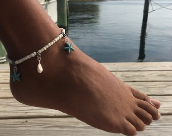 Turquoise sea star beach Anklet bracelet