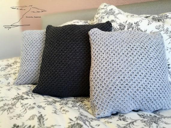 Tunisian Crochet Tunesisches H\u00e4keln Hellgrau Kissenbezug Light Gray Pillowcase