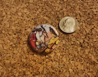 An old man riding a goat encounters a bird - 1.25in pinback button
