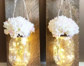 Rustic Mason Jar Wall Sconces with Fairy Lights