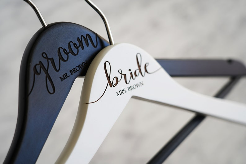 CHRISTMAS SALE Set of 2 Personalized Engraved Hangers for Married Couple VALENTINE/'S Day wedding gifts