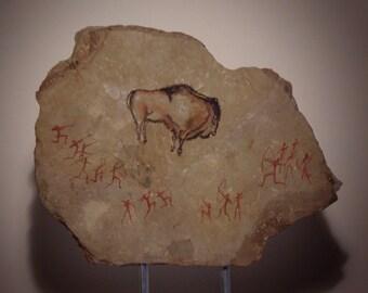 """Cave Art """"Bison Hunt 2"""" Unique Modern Sculpture"""
