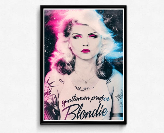 Custom Neon Blondie Poster, Classic Rock Poster, Pop Culture Poster Art, Punk Rock Modern Pop Art, Music Poster, 80s Rock Band, Rock Legends by Etsy