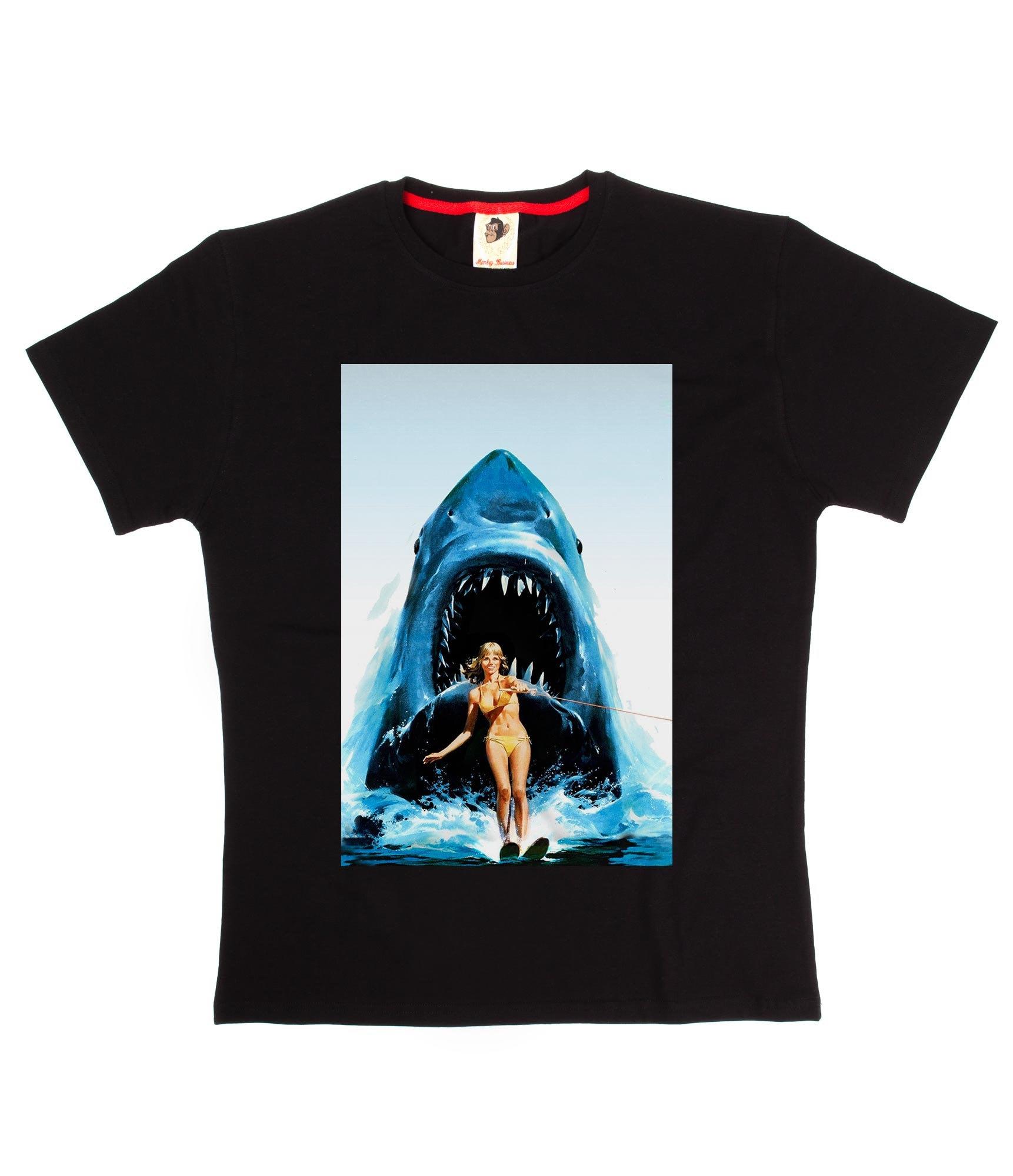 Requin Ski Funky Cool mode Business Funny Design imprimé T-shirt noir blanc Monkey Business mode a3deb6
