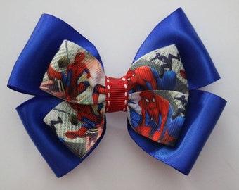 e8b069789575 Spiderman Hair Bow, Spiderman Bow, Super Hero Hair Bow, Super hero Bow