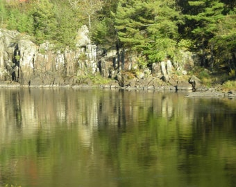 Lake Scene, Still Water, Rocky Shore, Forest, Shoreline Reflection on Lake, Green leaves, Tan Rock, Nature Photography, Landscape Picture,