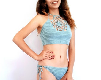 Boho Crochet Bikini, Brazilian Cheeky Bikini Bottom, Halter Bikini Top, Crochet Swimsuit, Holiday Gifts