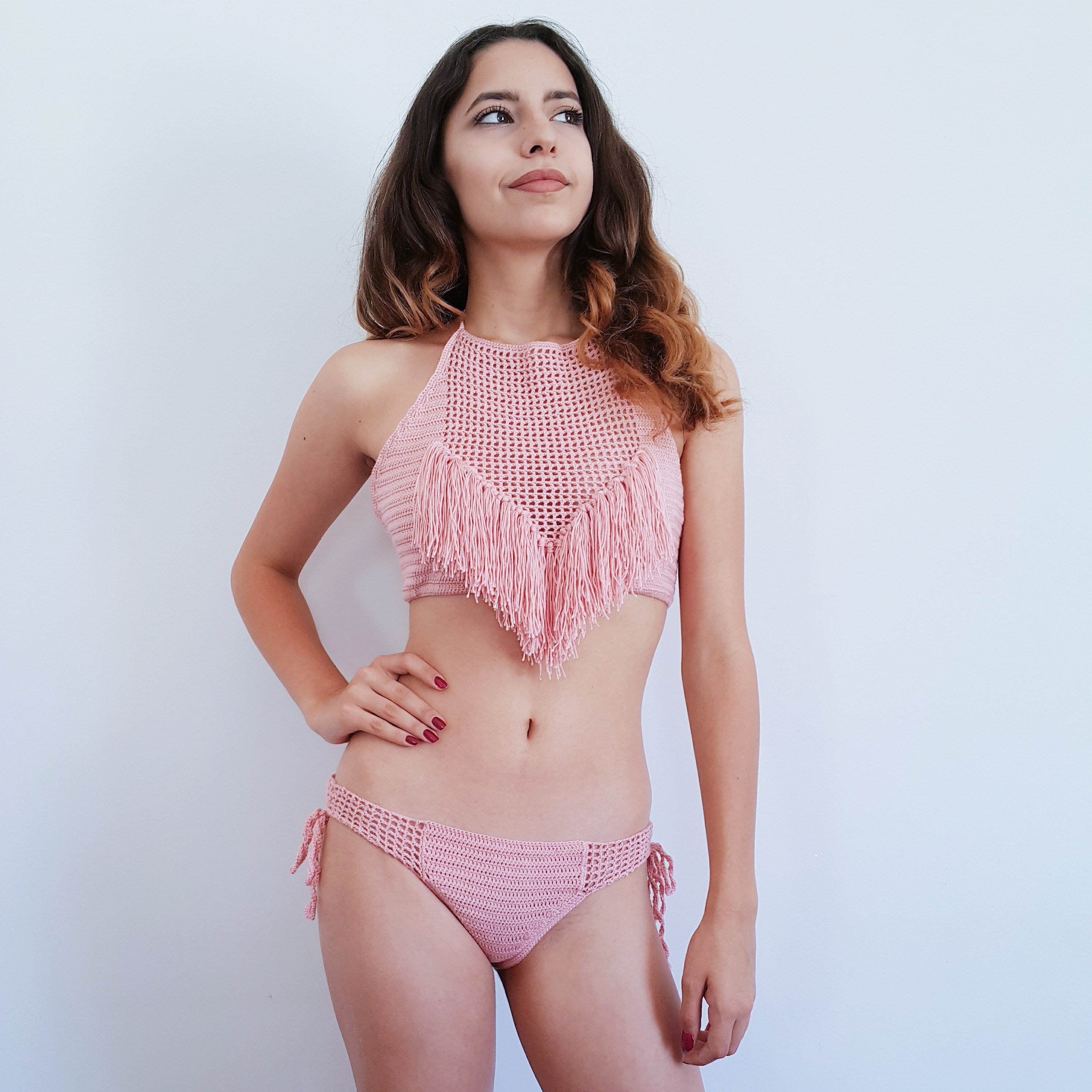 d61132792cfe1 Pink Crochet Bikini Fringe Bikini Top Halter Top Brazilian | Etsy